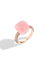POMELLATO Nudo Rose Quartz Maxi Ring with Chalcedony and Brown Diamonds