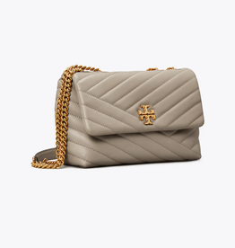TORY BURCH Kira Chevron Small Convertible Shoulder Bag - Gray Heron