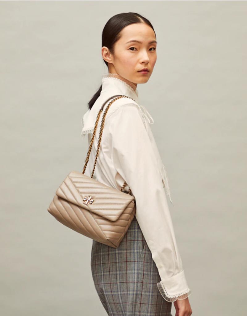 TORY BURCH Kira Chevron Small Convertible Shoulder Bag - Gray Heron