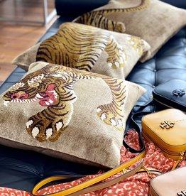Tibet Home Set of 3 Pillows - Tiger Full Body - Gold