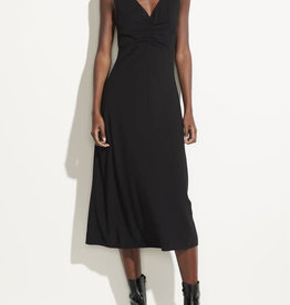 VINCE Ruched Double V-Neck Dress - Black