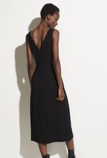 VINCE Ruched Double V-Neck Dress - Black