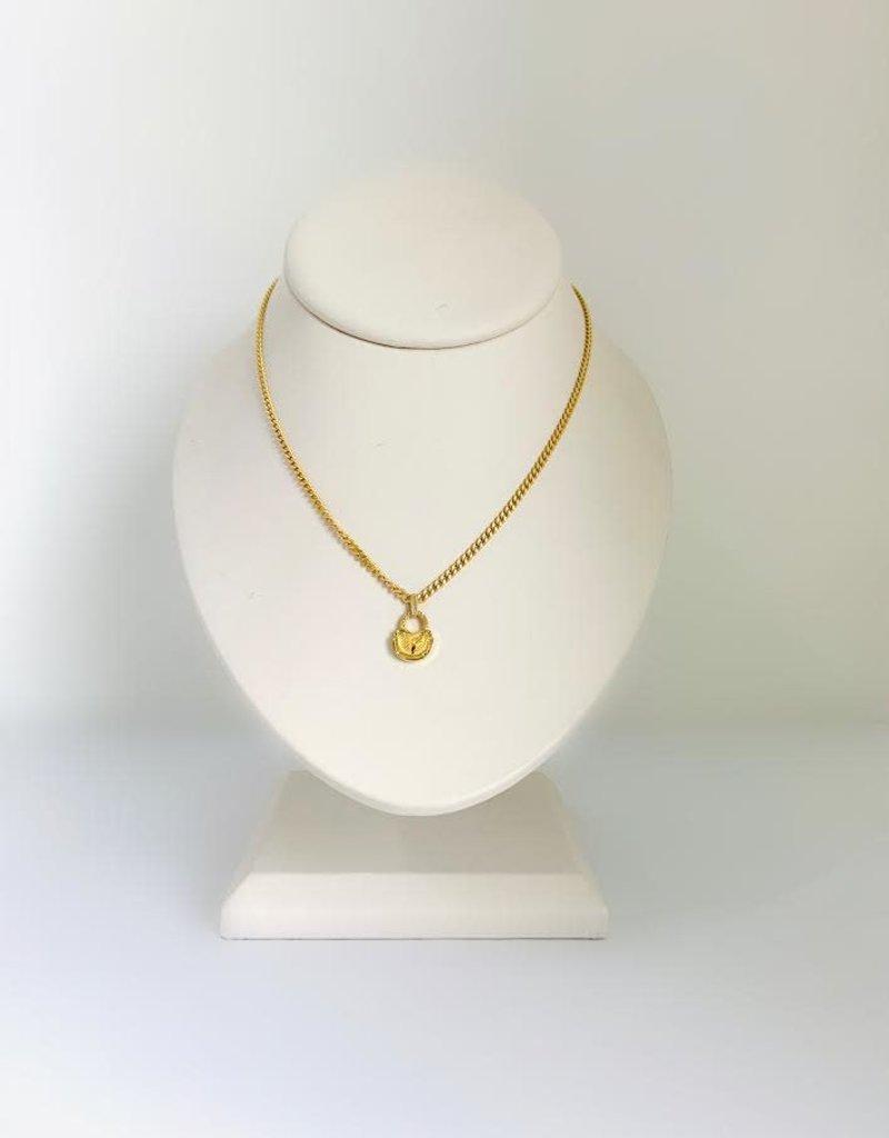 "SENNOD Large Diamond Lock Curb Chain Necklace - 18"""