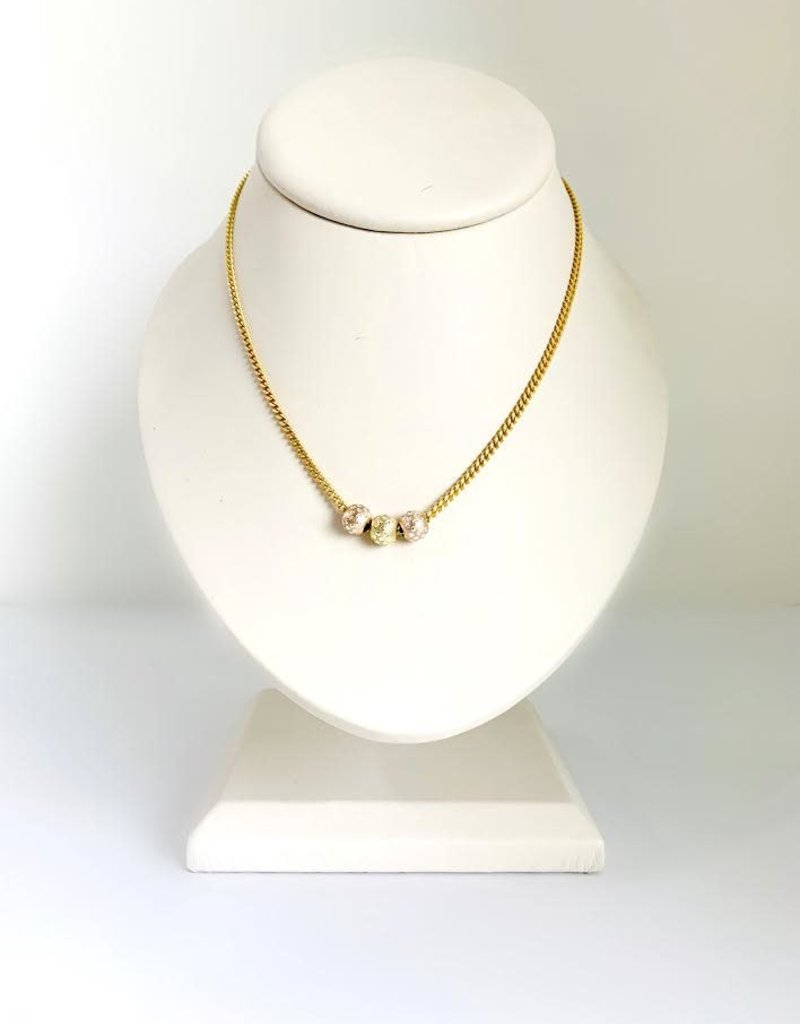 "SENNOD Rose Gold & Gold Trio Ball Necklace - 16-18"""