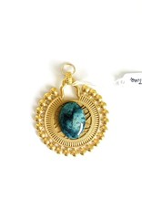 SENNOD Gold Solar Disc with Turquoise Vignette