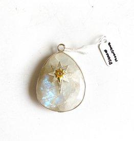 SENNOD Teardrop Moonstone with 2-Tone Diamond Star and Silver Bezel Vignette