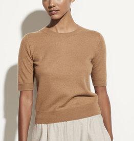 VINCE Boiled Cashmere Short Sleeve Pullover - Amber