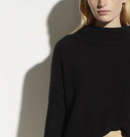 VINCE Boiled Cashmere Funnel Neck Pullover - Black