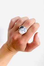 JAMIE JOSEPH Dendritic Opal Ring with Black Diamond