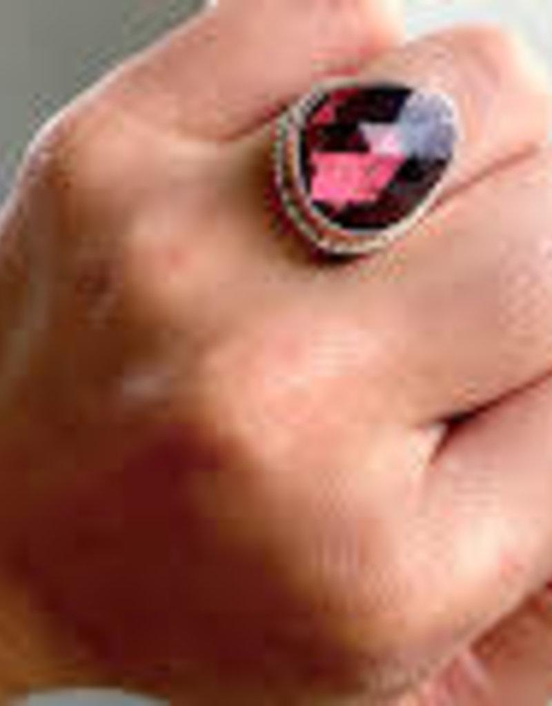JAMIE JOSEPH Faceted Red Tourmaline Ring  on Ruffle Platform