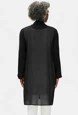 EILEEN FISHER Sheer Silk Georgette High Collar Open Jacket - Black