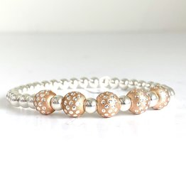 SENNOD 5 Dot Ball Rose Gold + Sterling Ball Bracelet