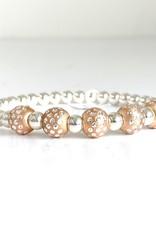 SENNOD 5 Dot Ball Rose Gold + Sterling Ball Bracelet