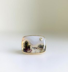 JAMIE JOSEPH Moss Agate with Diamond Ring