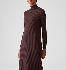 EILEEN FISHER Merino Mock Neck Ribbed Dress - Brownstone