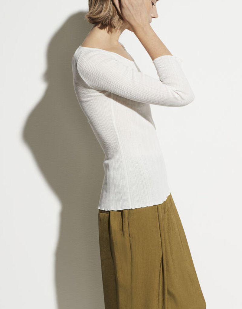 VINCE Lettuce Edge Scoop Neck Ribbed Tee