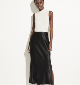 VINCE Satin Side Slit Slip Skirt