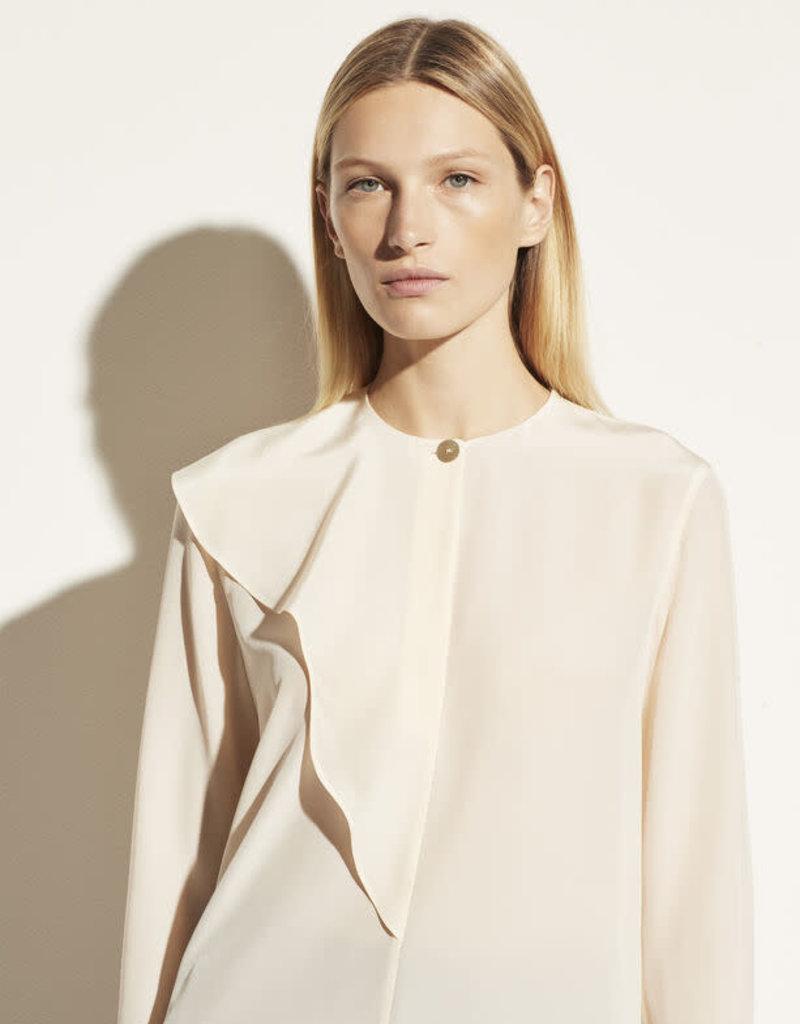 VINCE Asymmetric Silk Flutter Blouse