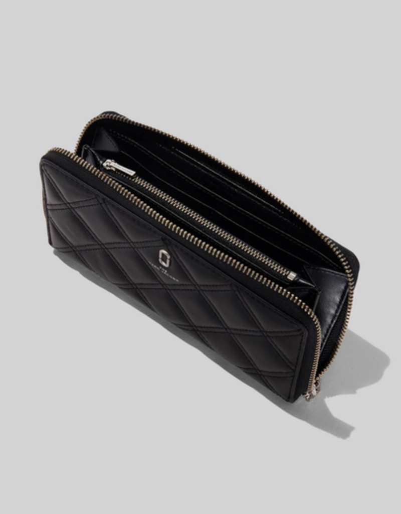 MARC JACOBS Standard Continental Wallet Quilted Leather - Black