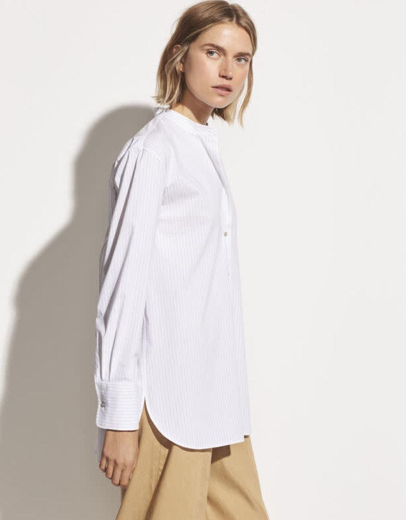 VINCE Classic Stripe Band Collar Shirt - White