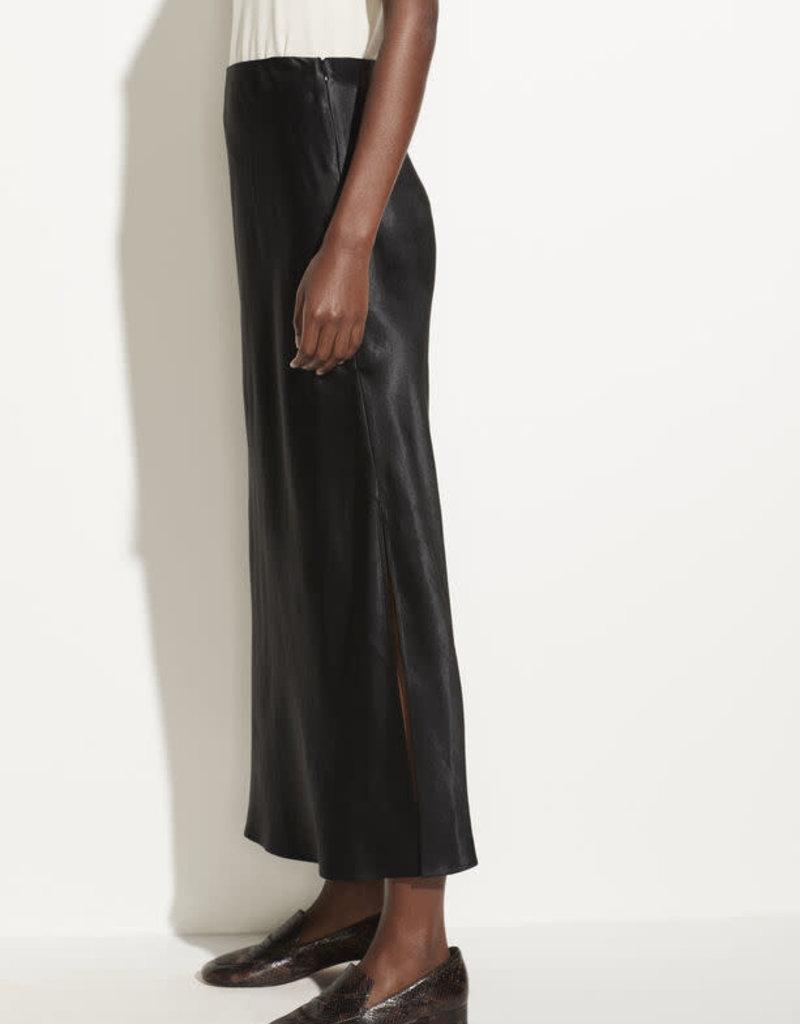 VINCE Satin Side Slit Slip Skirt