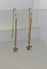 SENNOD Bitsy Bar with Moonstone & Star Two Tone Earrings