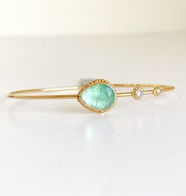 JAMIE JOSEPH Teardrop Table Up Emerald with Diamonds Bracelet