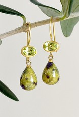 MALLARY MARKS Apple & Eve - Oval Chrysoberyl and Stichilite Drop Earrings