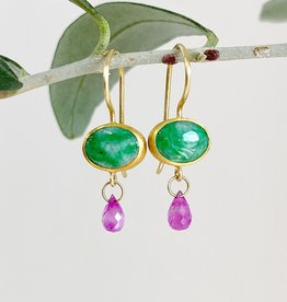 MALLARY MARKS Apple & Eve - Oval Imperial Jade and Ruby Earrings
