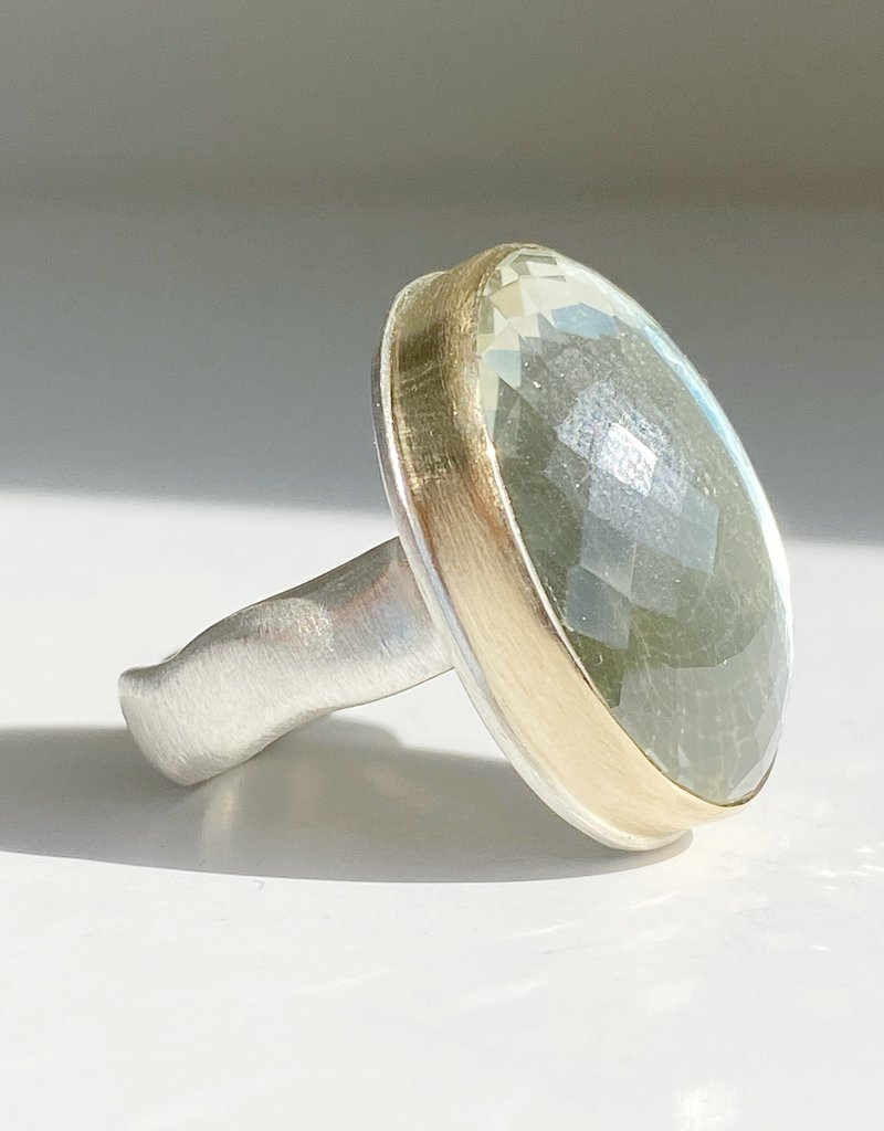 JAMIE JOSEPH Vertical Oval Faceted Mint Quartz Ring