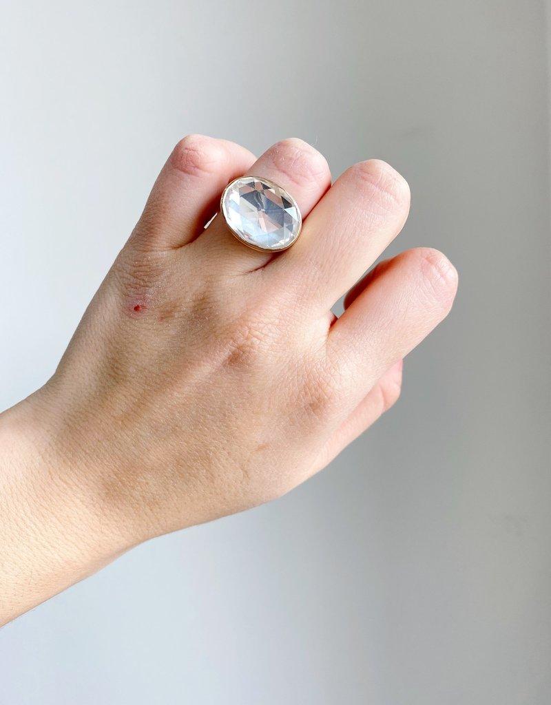JAMIE JOSEPH Large Oval Rose Cut Rock Crystal Ring