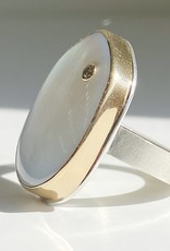 JAMIE JOSEPH Vertical Asymmetrical Mother of Pearl Ring with Diamond