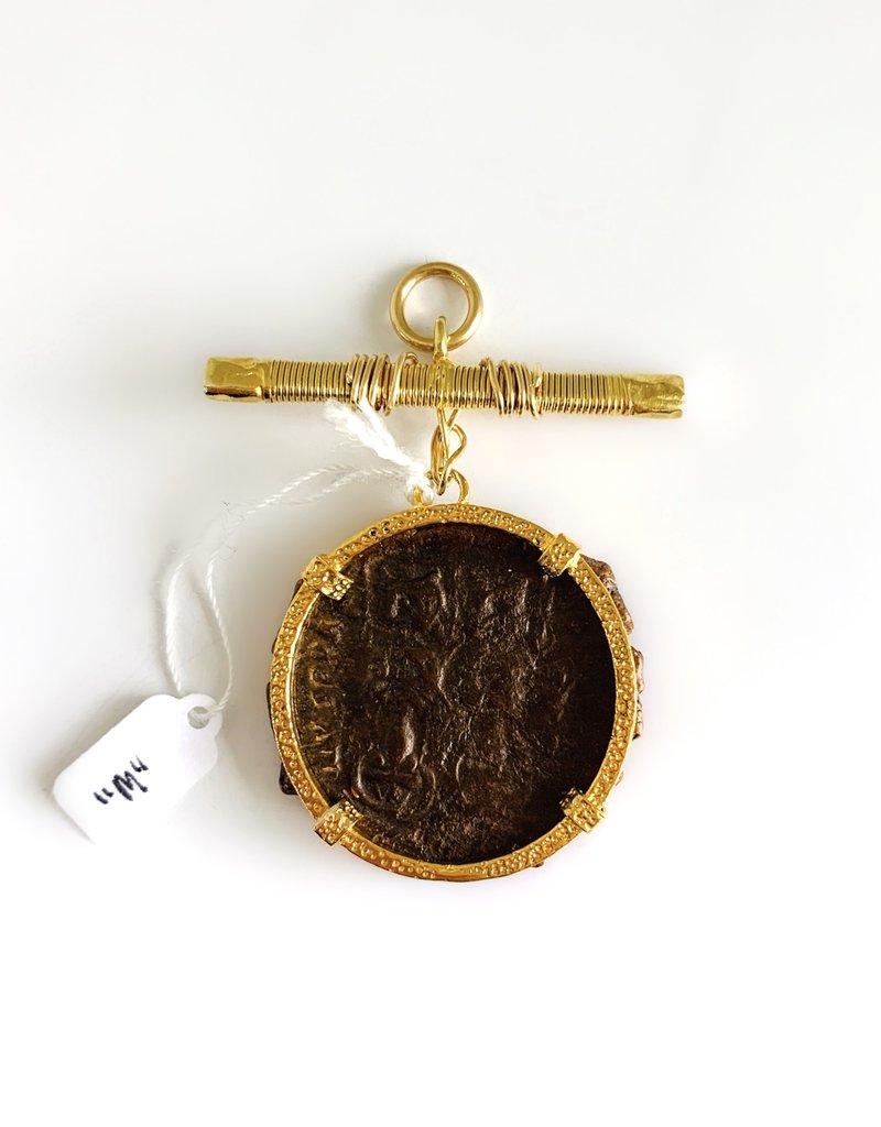 """SENNOD Roman """"M"""" Coin on Gold Bar Vignette"""