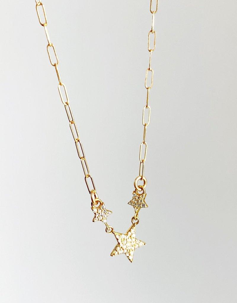 "SENNOD Diamond Star Trio Necklace - 18"""