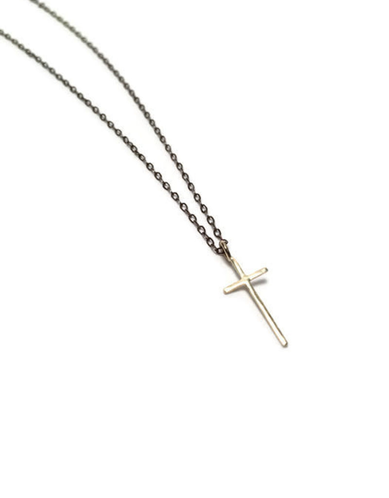 SHANNON JOHNSON Gold Signature Cross on Oxidized Chain Necklace