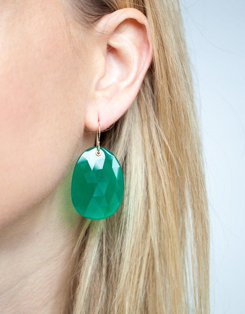 JAMIE JOSEPH Extra Large Green Onyx Earrings