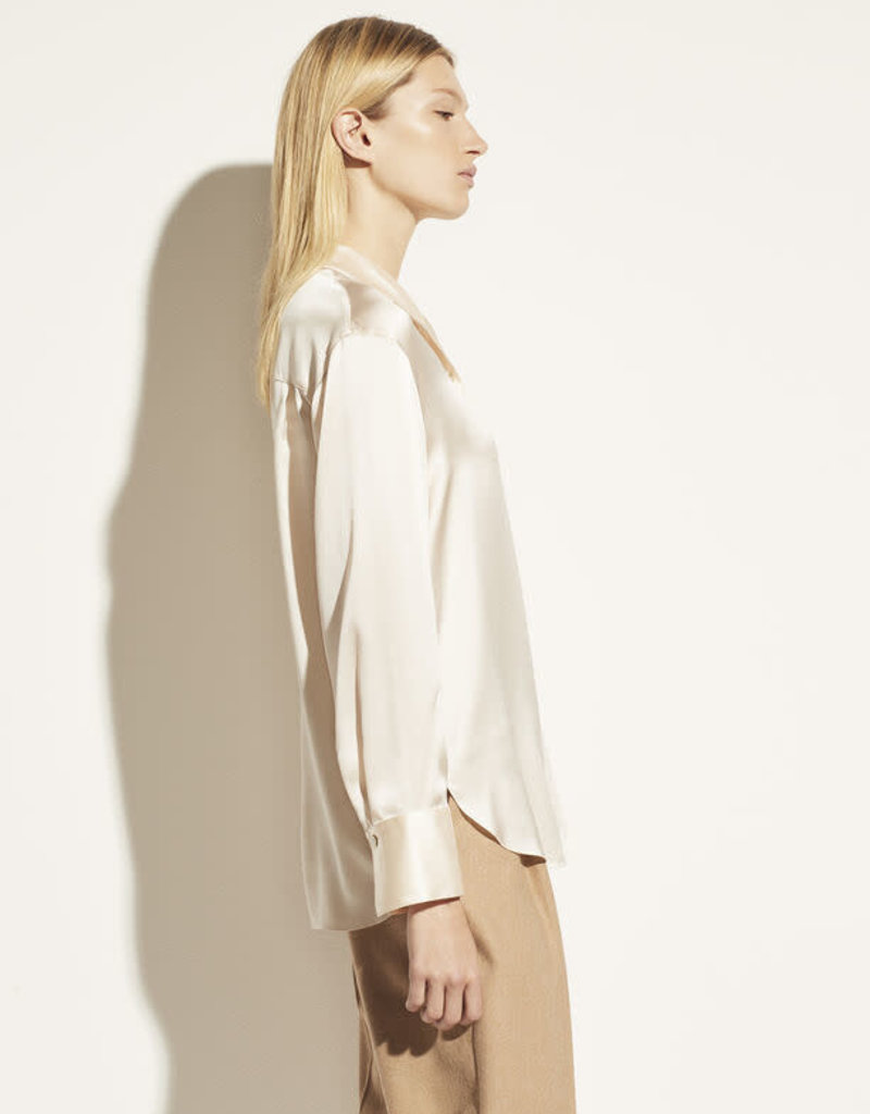 VINCE Silk Stand Collar Blouse