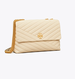TORY BURCH Kira Chevron Convertible Shoulder Bag - New Cream / Rolled Brass