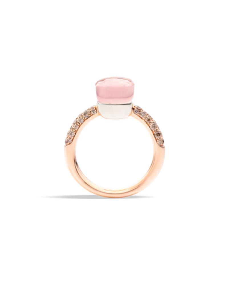 POMELLATO Nudo Rose Quartz Petit Ring with Chalcedony and Brown Diamonds