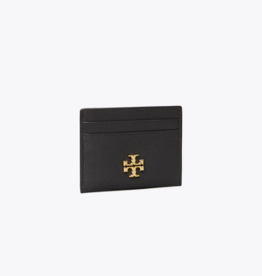 TORY BURCH Kira Pebbled Card Case - Black