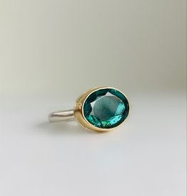 JAMIE JOSEPH Oval Table up Blue Green Tourmaline Ring