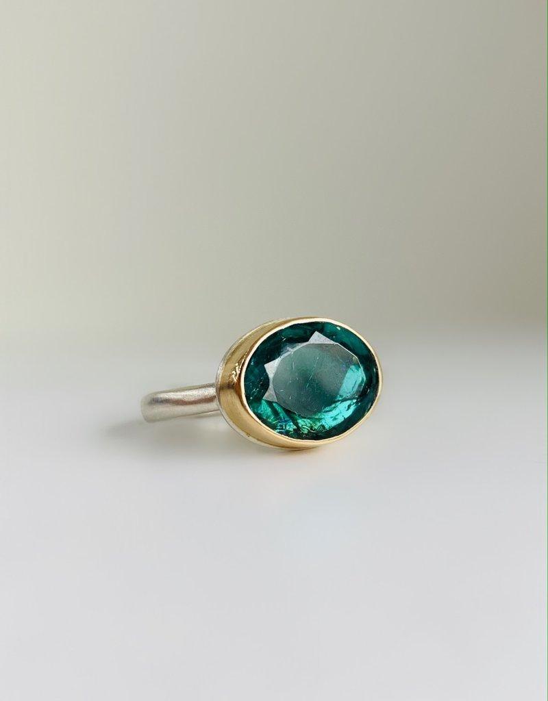 JAMIE JOSEPH Oval Table up Blue Green Tourmaline Ring