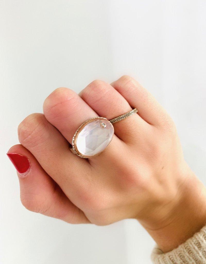 JAMIE JOSEPH Rose Quartz with Diamond Ring