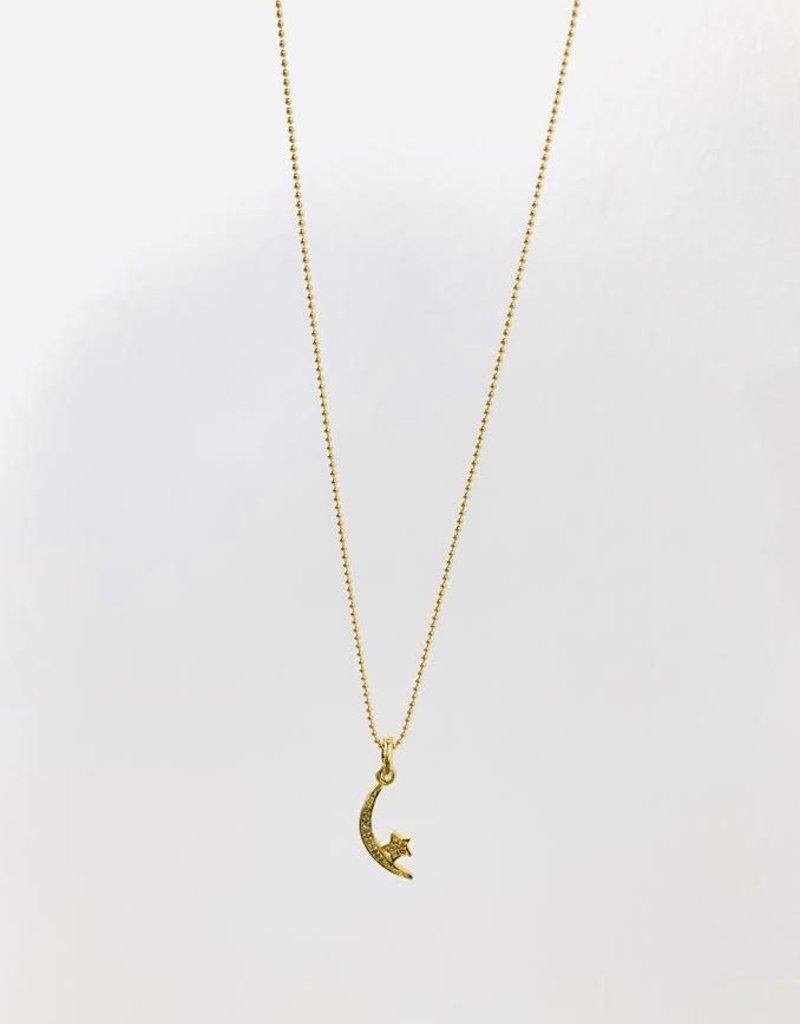 "SENNOD Crescent Diamond Moon and Star Necklace 16"""