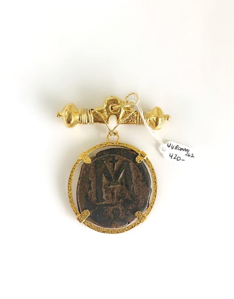 SENNOD Roman M Coin on Roman Gold Bar Vignette