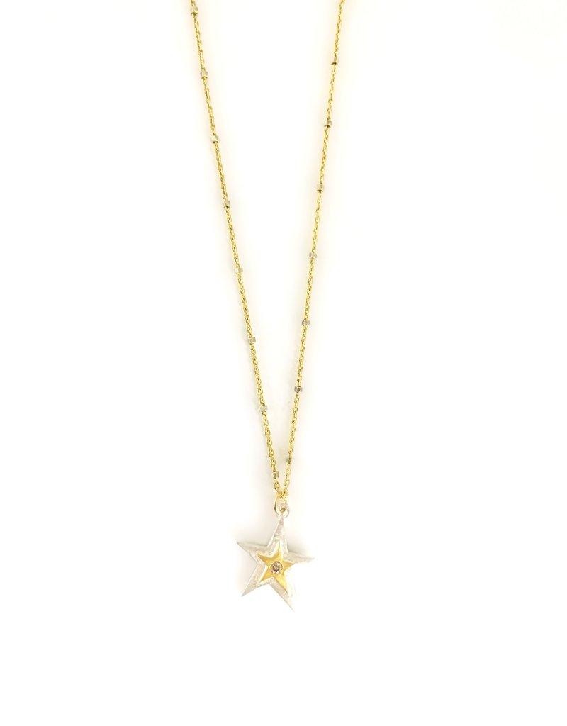 "SENNOD Two-tone Diamond Star 18"" Necklace"