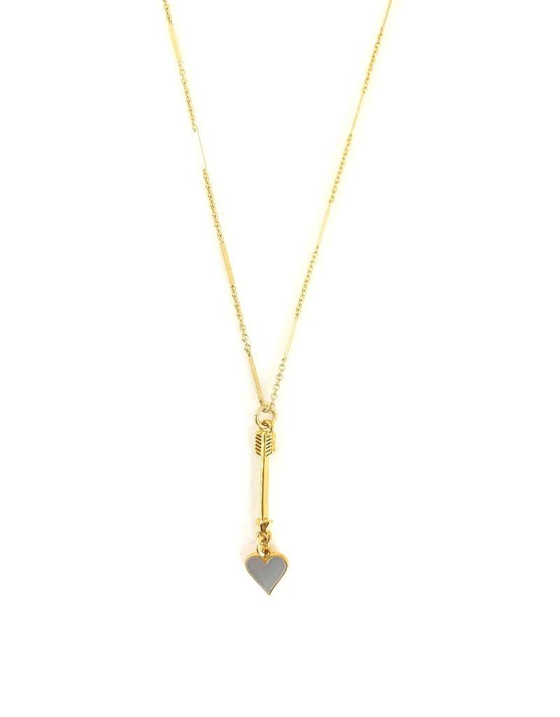 """SENNOD Enamel Heart + Arrow 18"""" Necklace"""