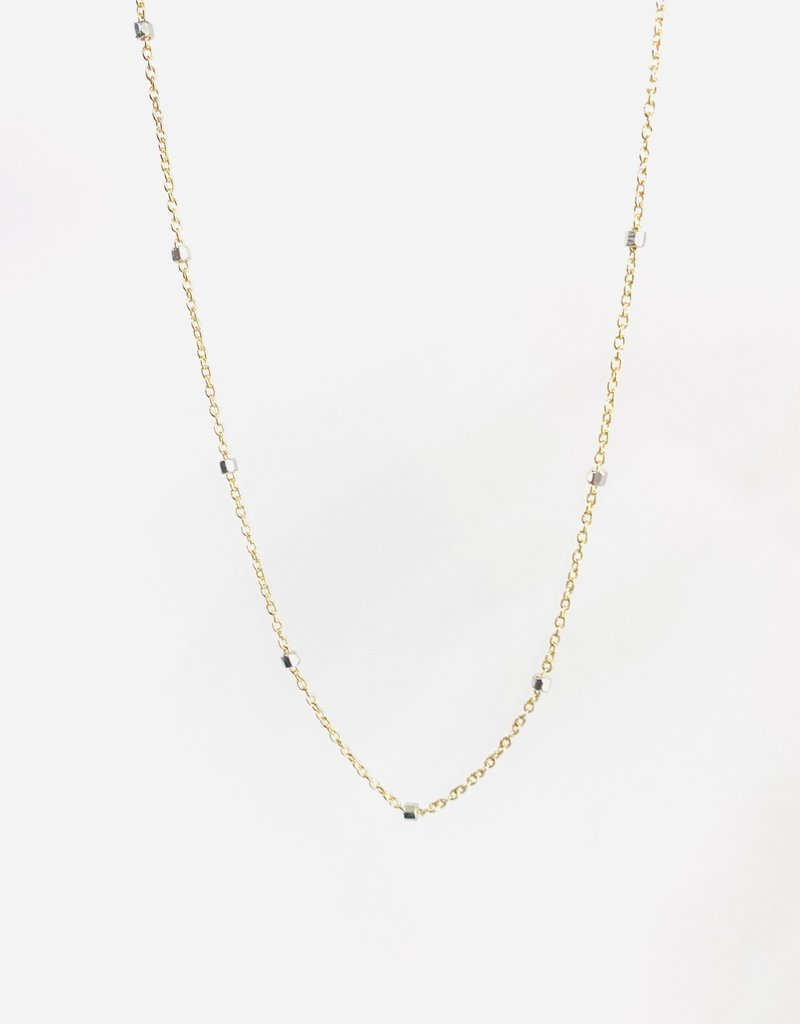 """SENNOD Two-tone Station Silver Cube Layering Chain 18"""" Necklace"""