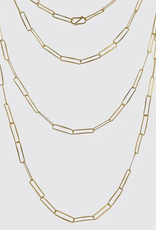 """Jane Diaz 60"""" Paper Clip Hammered Chain Necklace"""