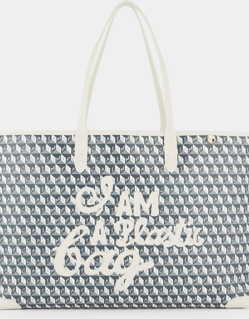 ANYA HINDMARCH I am a Plastic Bag - Large Tote - Chalk/Charcoal